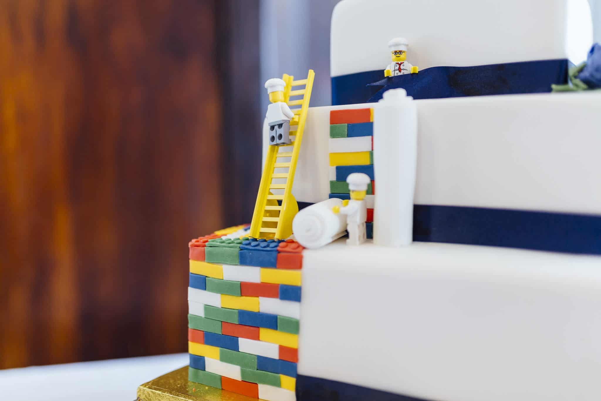 Debbie & Alex - Low Wood Bay Windermere - Lego Cake - wedding-suppliers