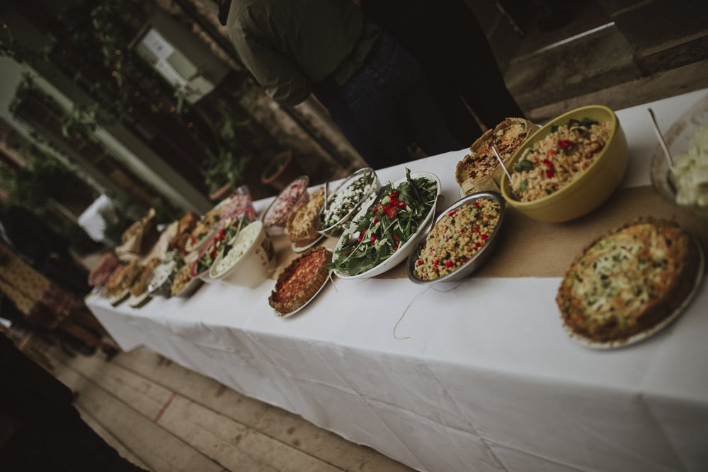 food for banquet in bohemian cumbrian wedding at Kirklinton hall