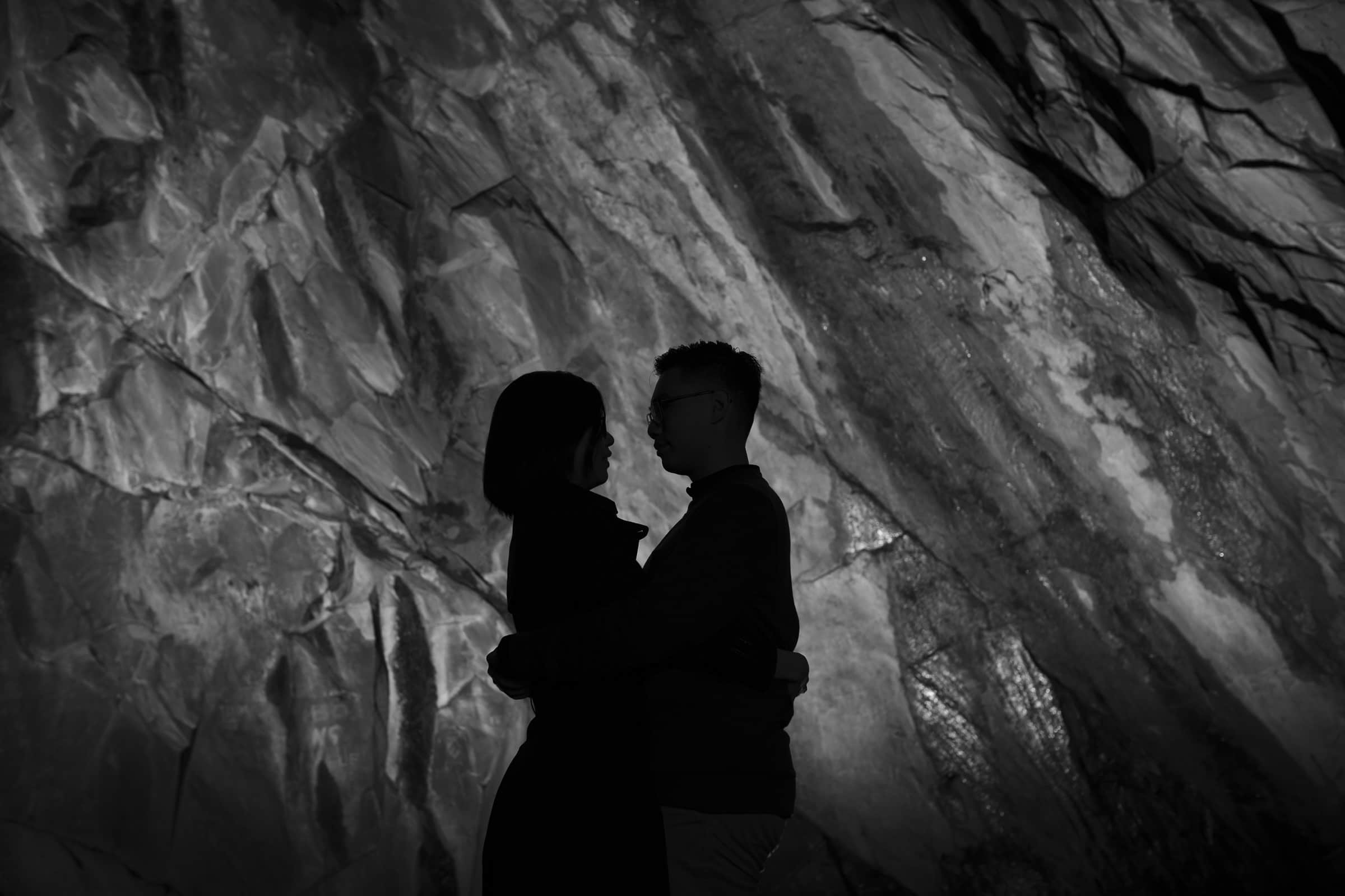 Creative portrait inside a cave creative wedding photographer lake district cumbria