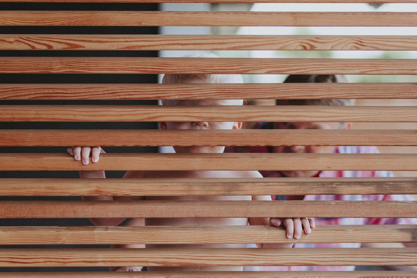 Small blonde boy and man look through wooden slats