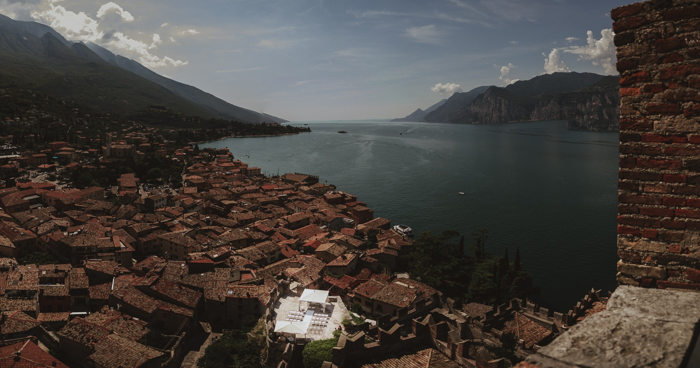 Overlooking lake garda and buildings