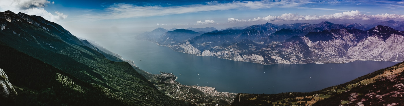 Stunning view overlooking lake garda in italy
