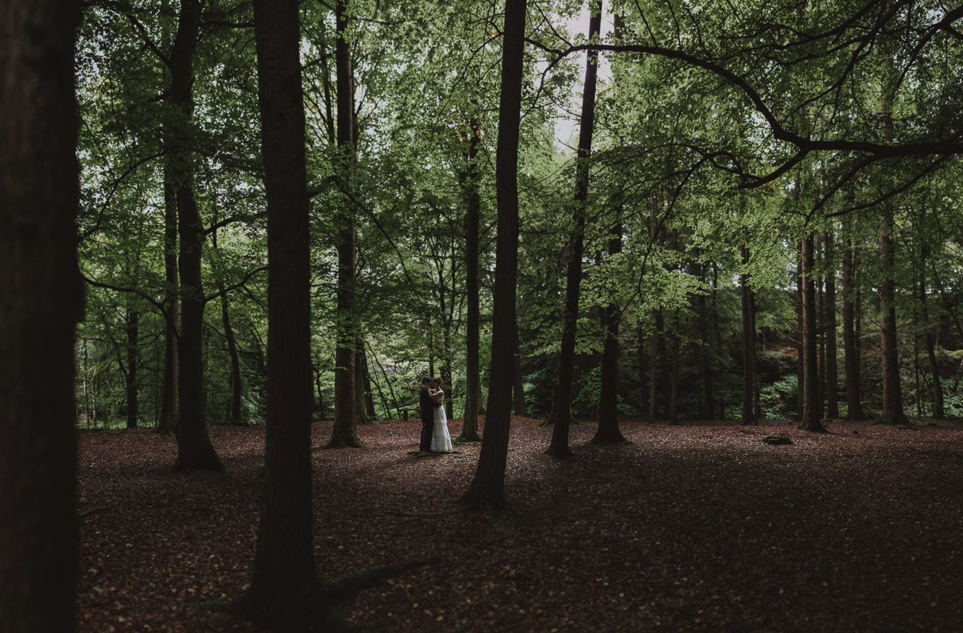 Wedding couple embracing in the autumn woodland by Joshua Wyborn Photographic