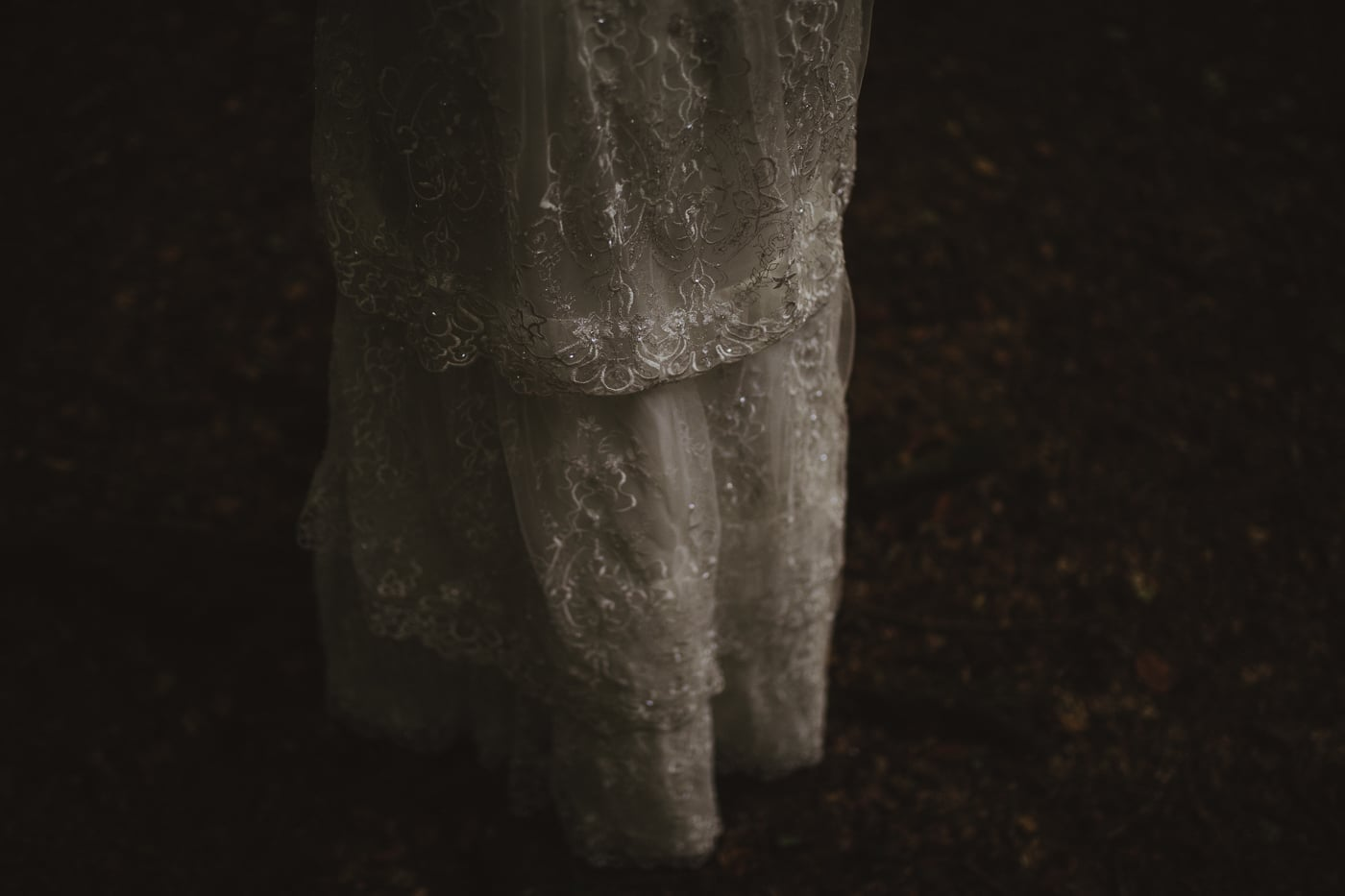 Detail on wedding dress by Joshua Wyborn Photographic