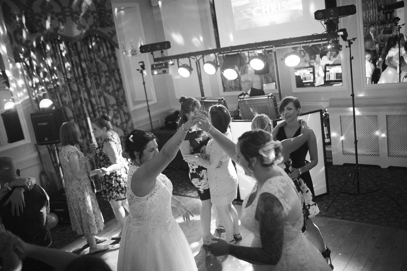 Guests on the dancefloor for wedding photography by Joshua Wyborn