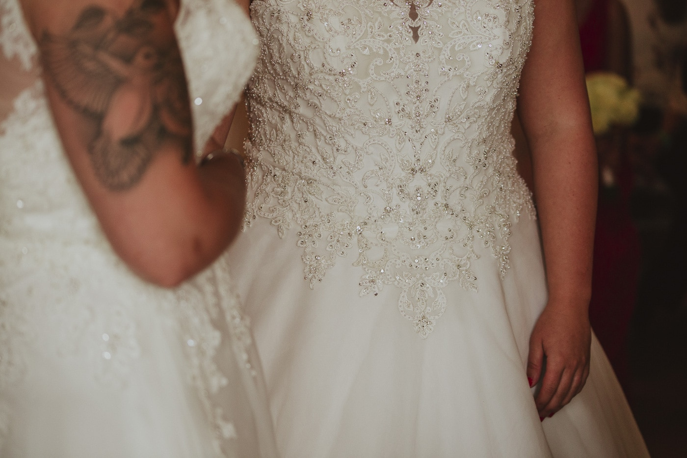 detail of wedding dress for wedding by Joshua Wyborn photography