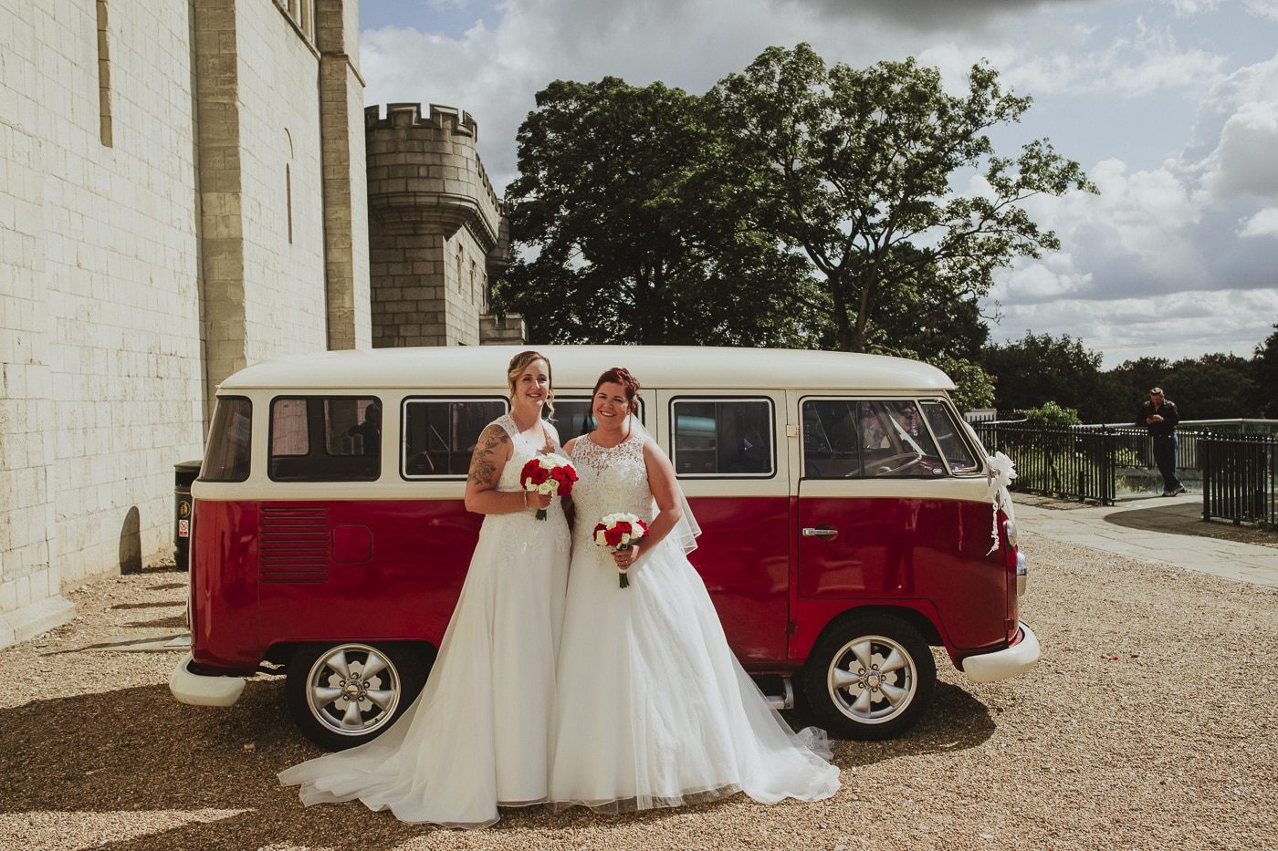 Brides in front of vw camper for wedding by Joshua Wyborn photography