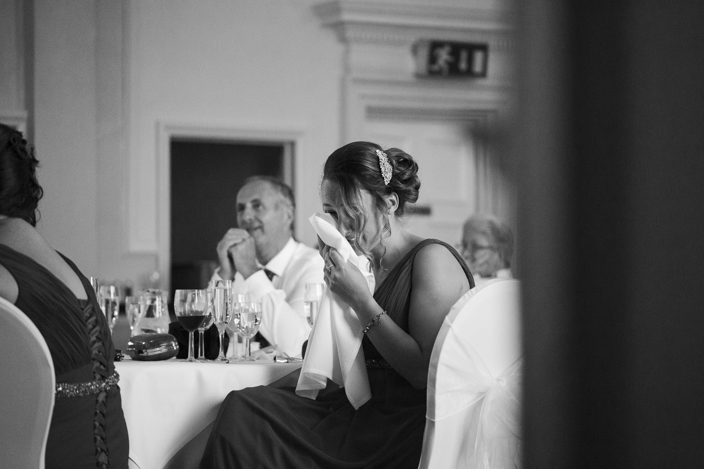 Crying guests during speeches for wedding by Joshua Wyborn photography