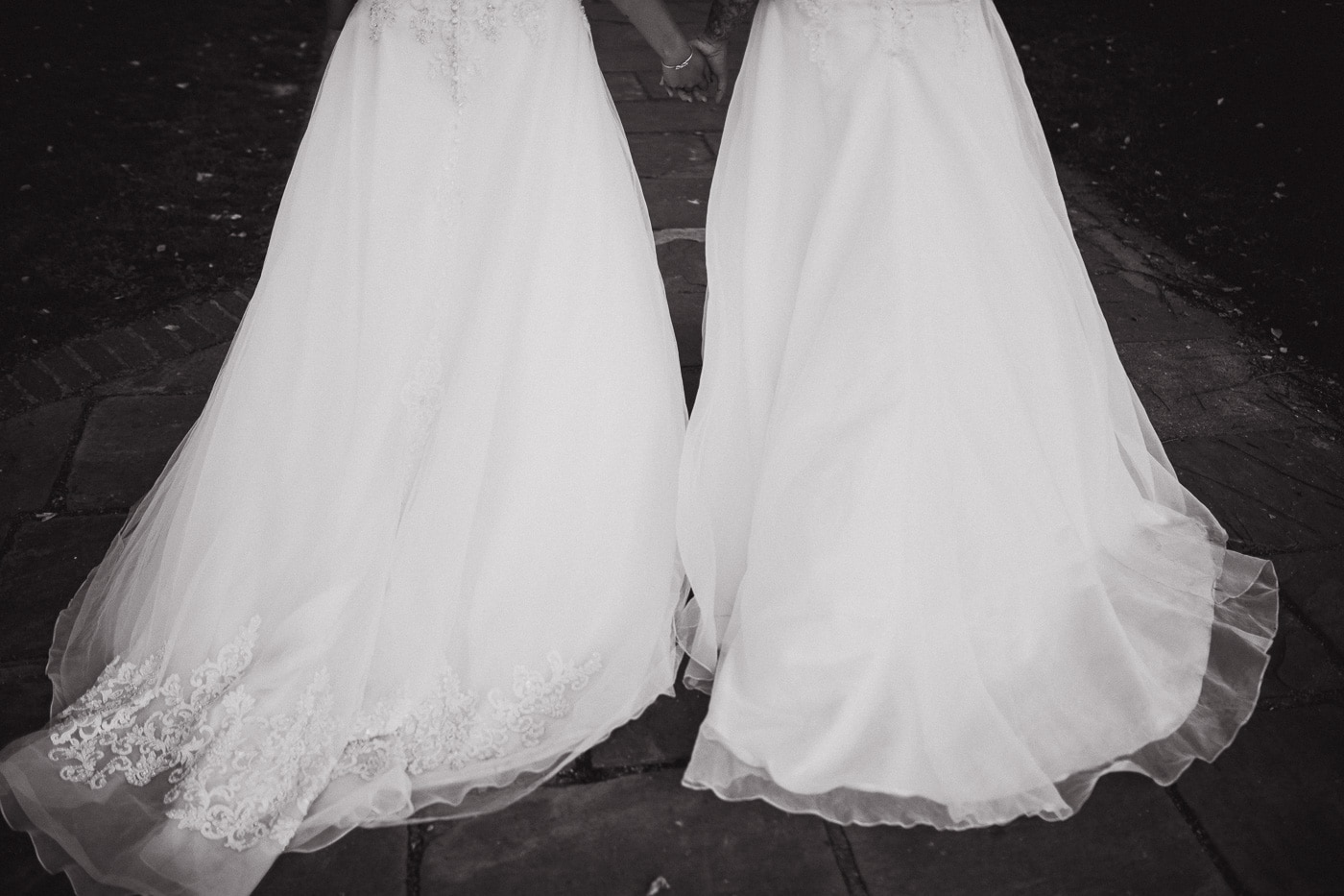 Two bridal gowns for wedding photography by Joshua Wyborn
