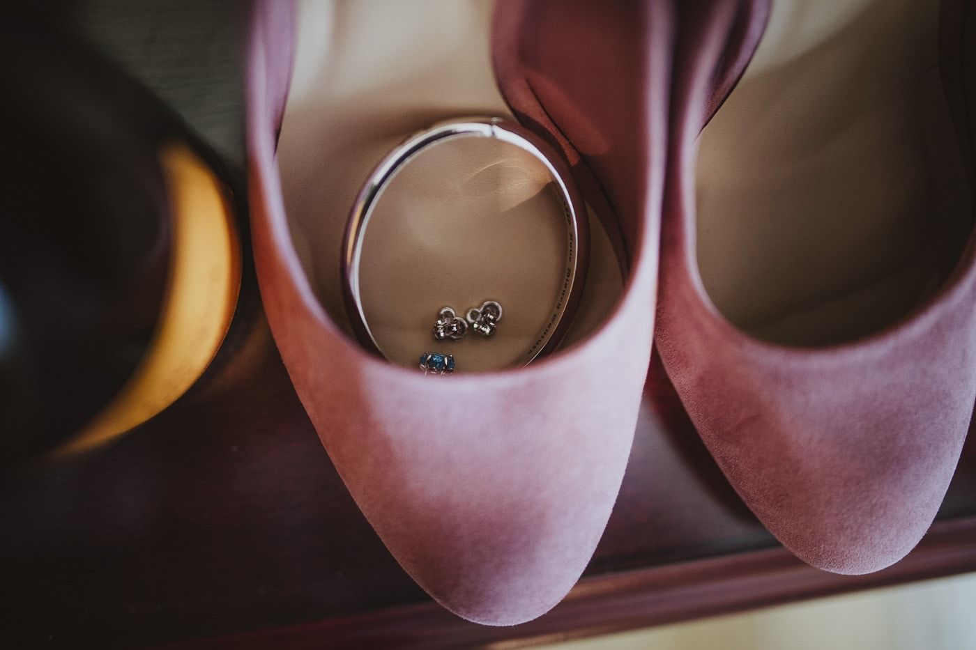 Jewellery ready in shoes for Cumbria wedding by Joshua Wyborn