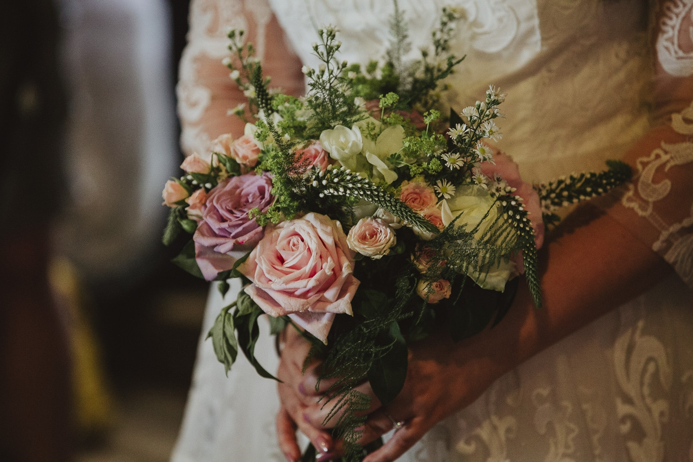 Brides bouquet of flowers taken by wedding photographer Joshua Wyborn