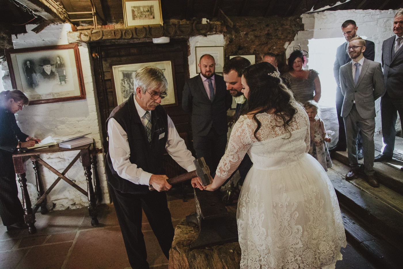 Bride and groom being blessed in Gretna Green