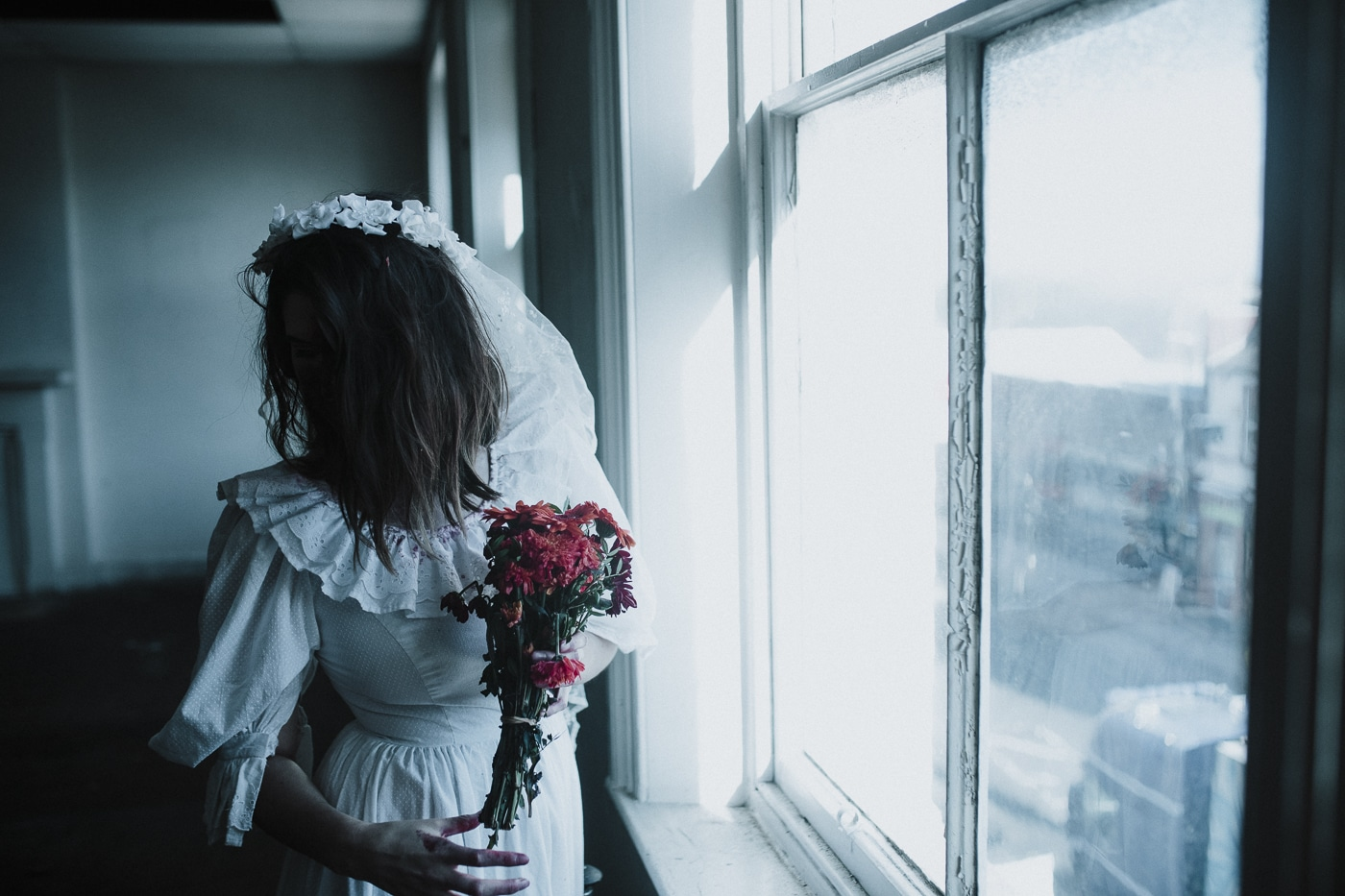 Halloween Horror bride Photograph Zombie bride holding flowers