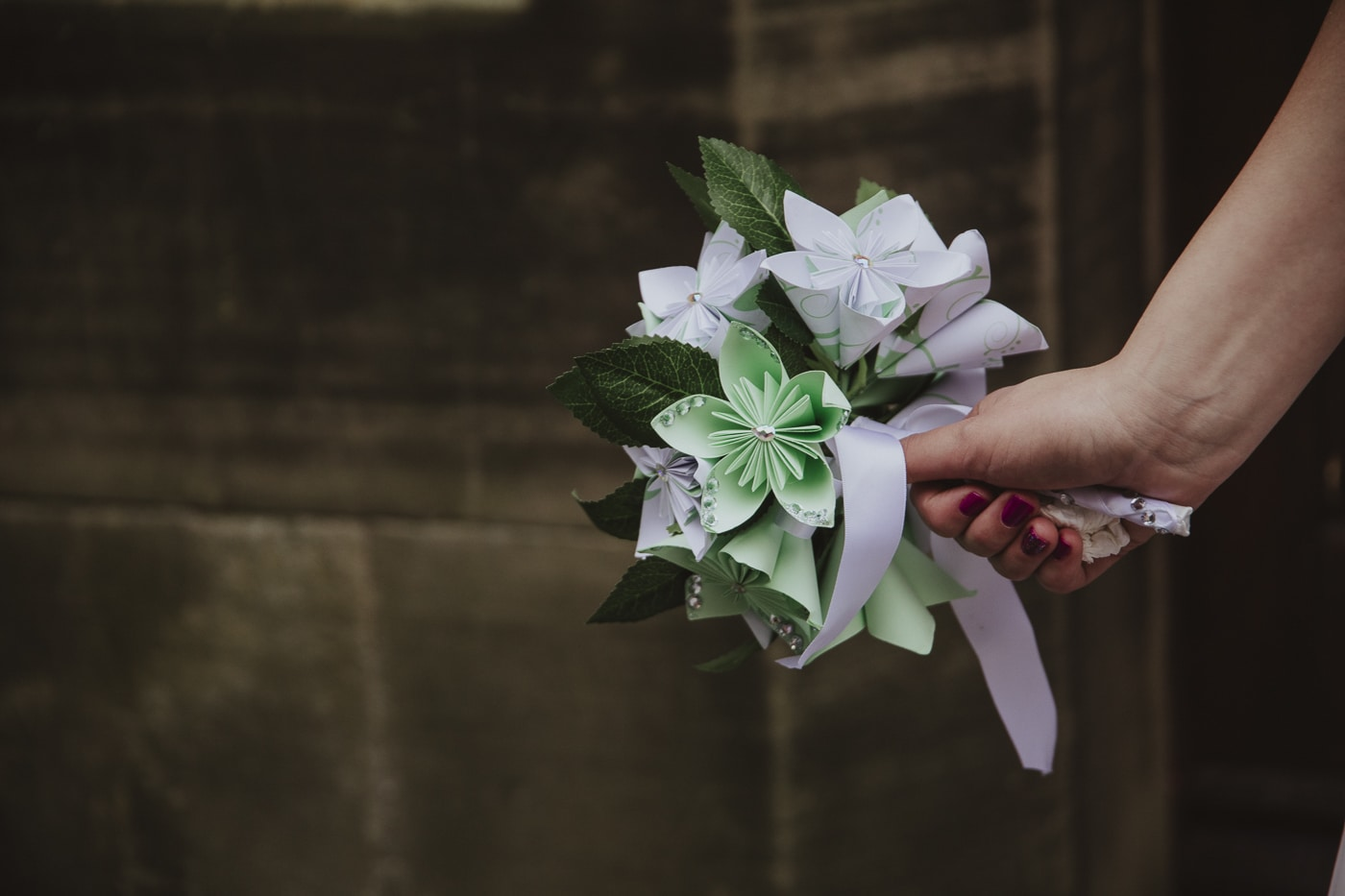 Paper flower bouquet for wedding by Joshua Wyborn