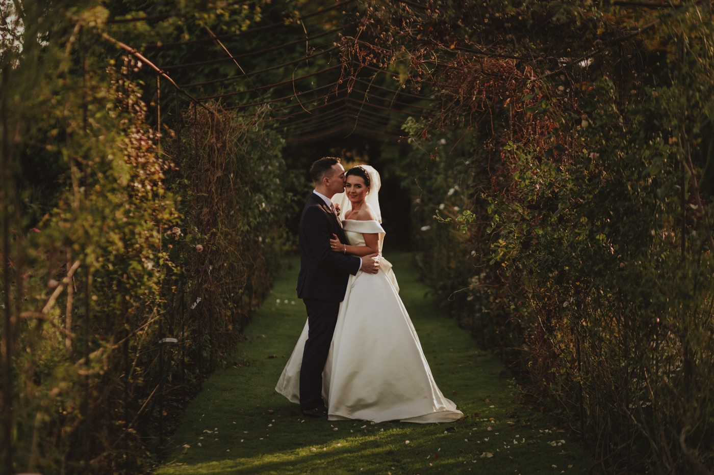 Lartington Hall Wedding Photograph bride and groom in lartington hall gardens