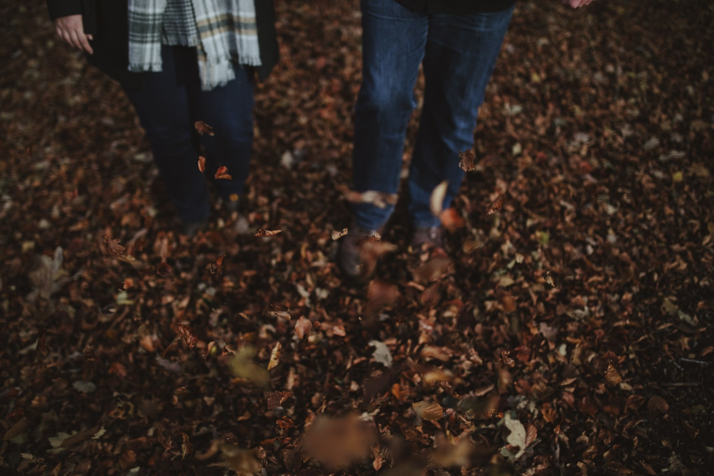 Standing in the brown leaves in autumn by Joshua Wyborn Photographic