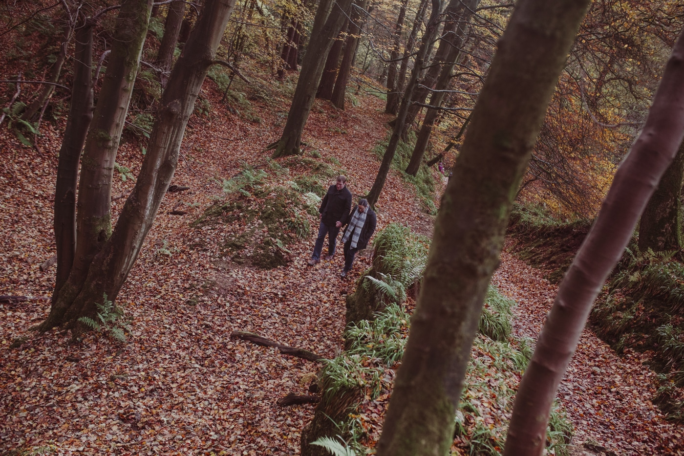 Man and woman walking through leaves and trees by Joshua Wyborn
