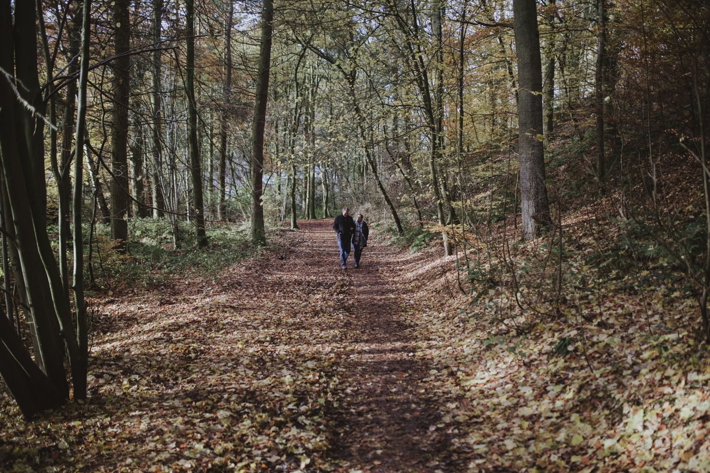 Couple walking through woods in engagment photo shoot by Joshua Wyborn Photographic