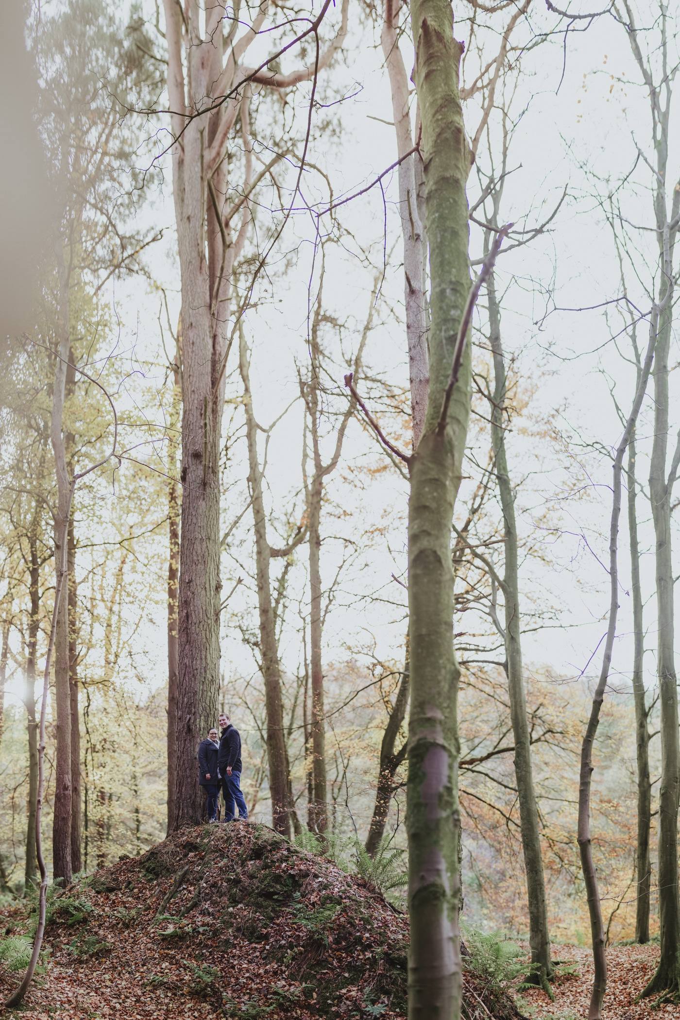 Man and woman standing on hill of leaves in tall trees by Joshua Wyborn