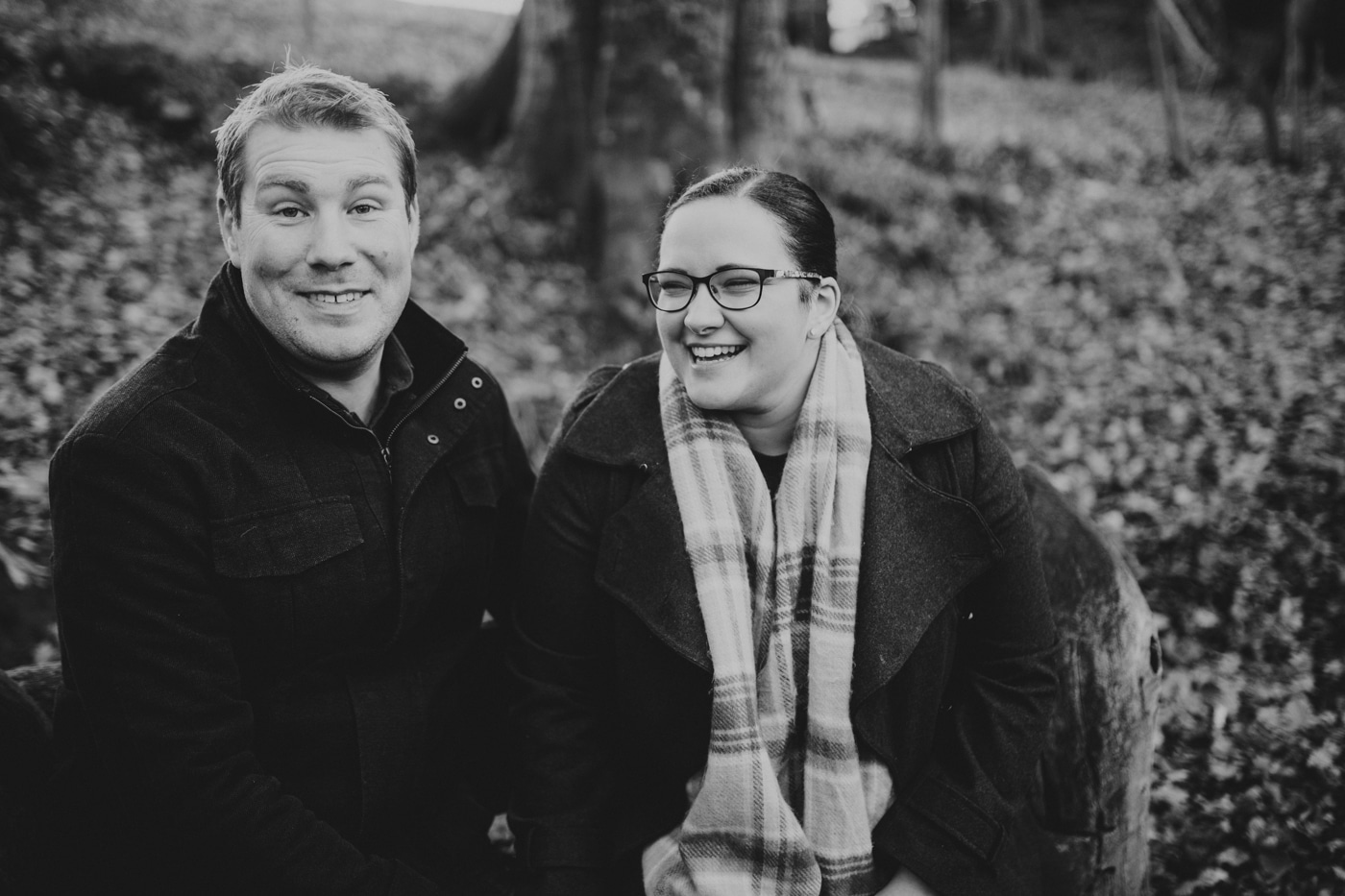 Man and woman engagement couple portrait shoot by Joshua Wyborn Photographic