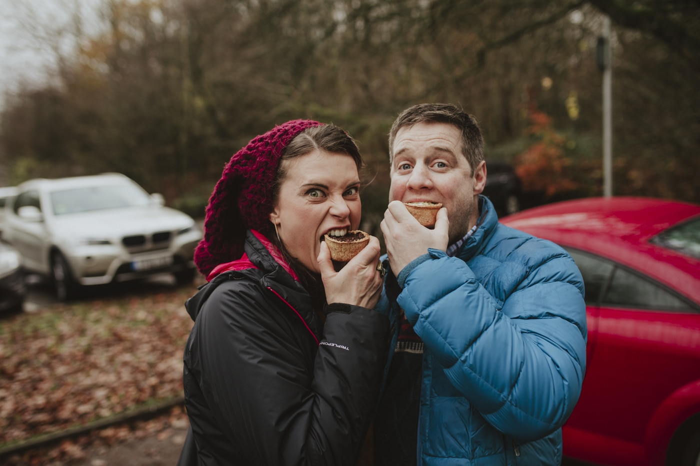 Eating pies in cumbria by Josh Wyborn Lake District and Cumbria Based Wedding Photographer