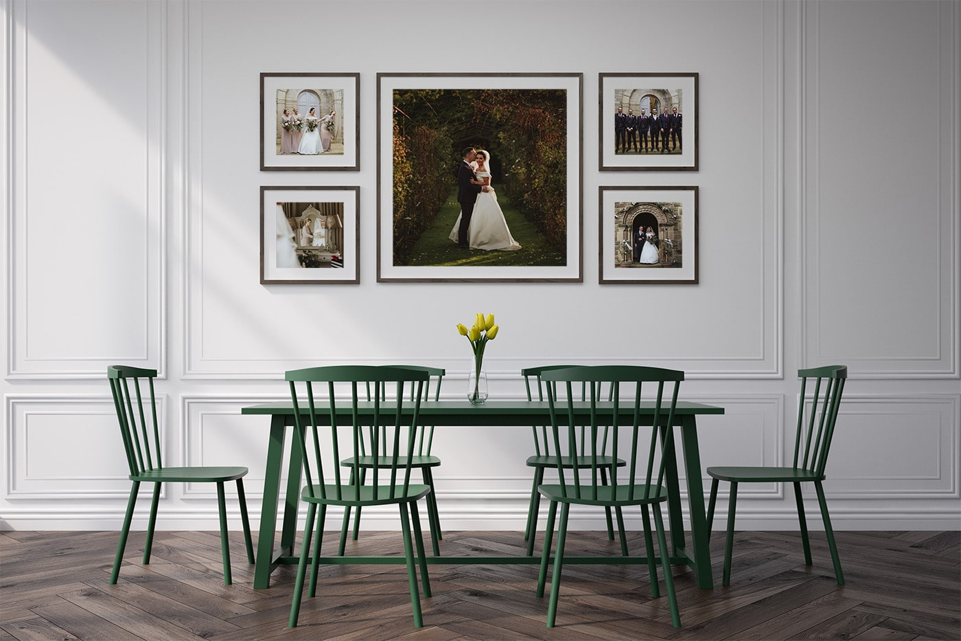 Printed and framed wedding photographs