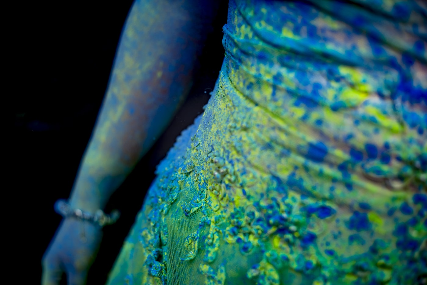 Close up of bride after she trashed her dress with paint from Paintglow