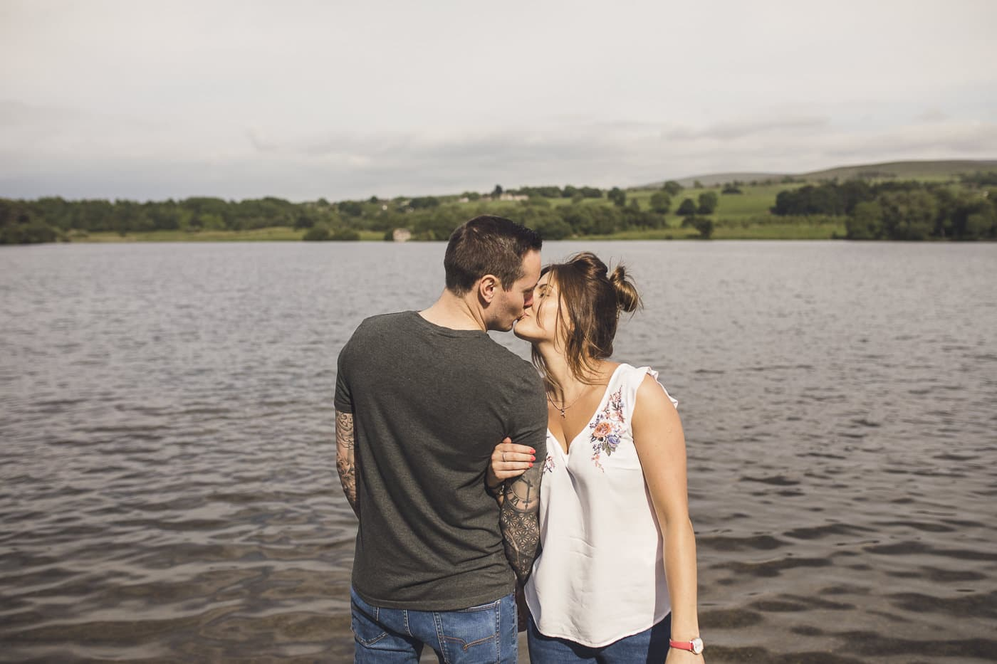 Couple kissing at Talkin Tarn on a Couple Portrait session