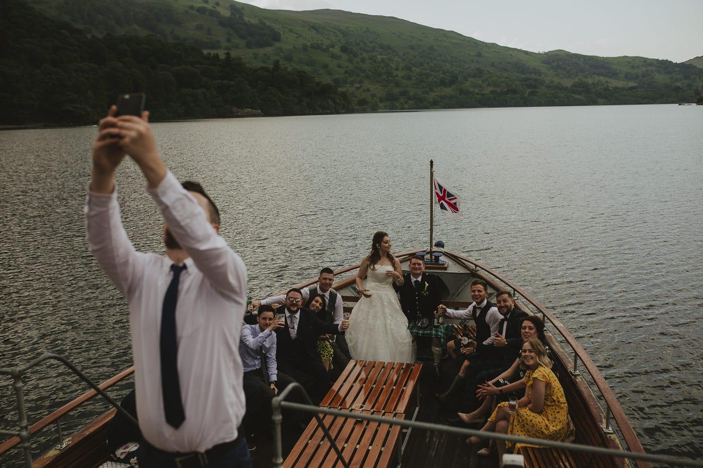 wedding selfie on the Ullswater steamers in Inn On The Lake wedding