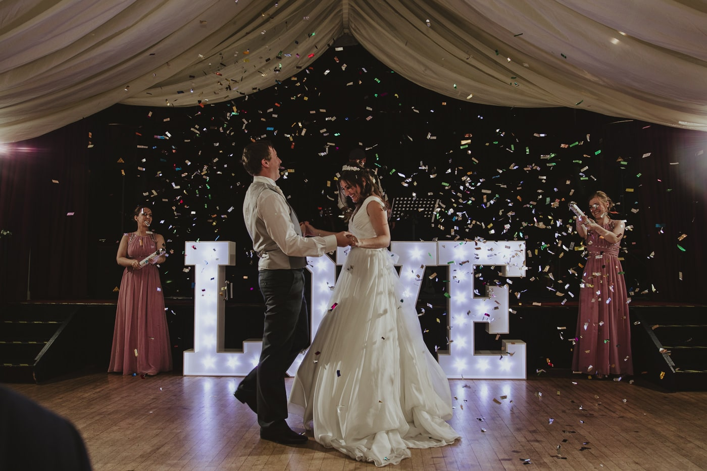 Bride and Groom First Dance with confetti cannons