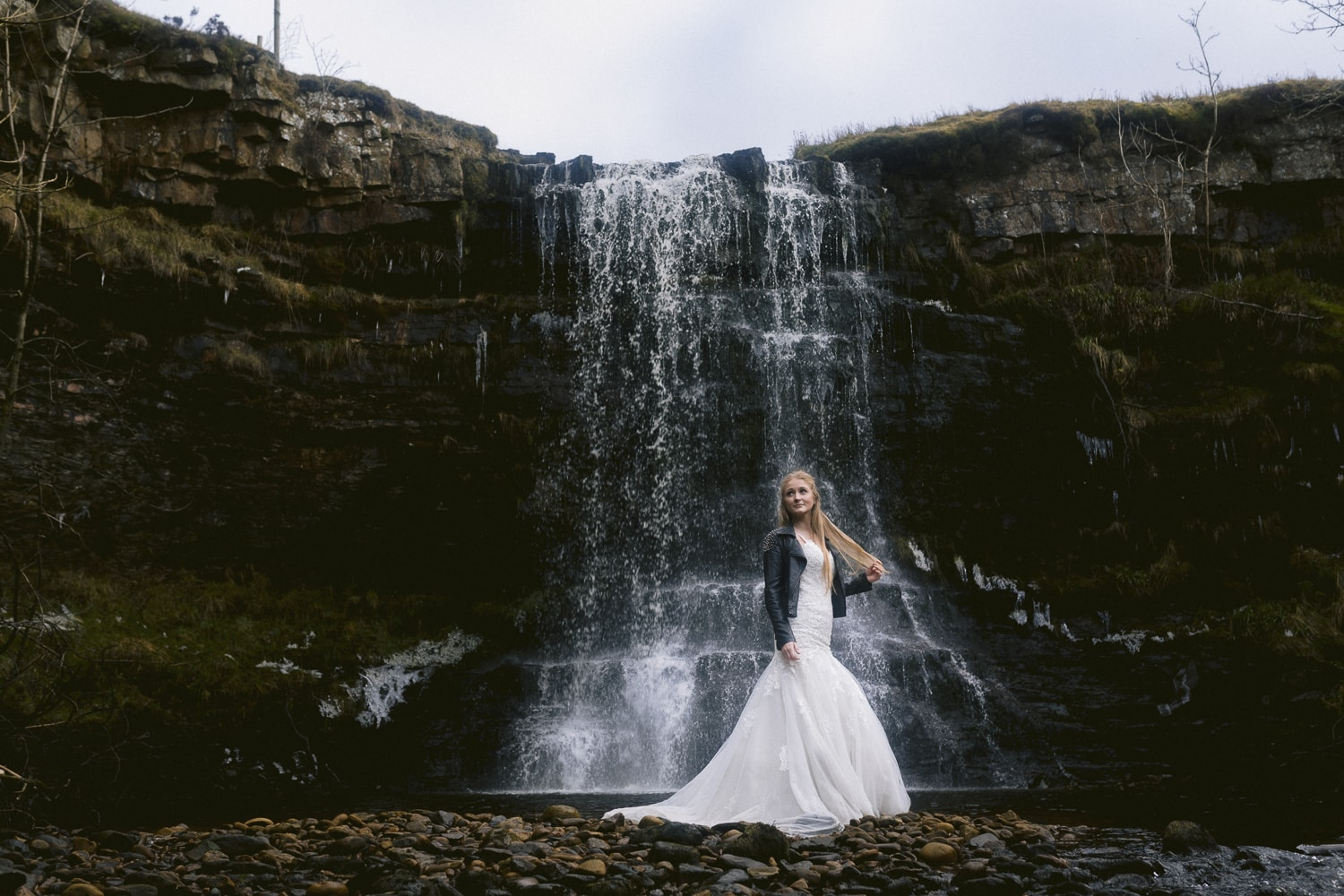 Bride in front of Cumbrian Waterfall
