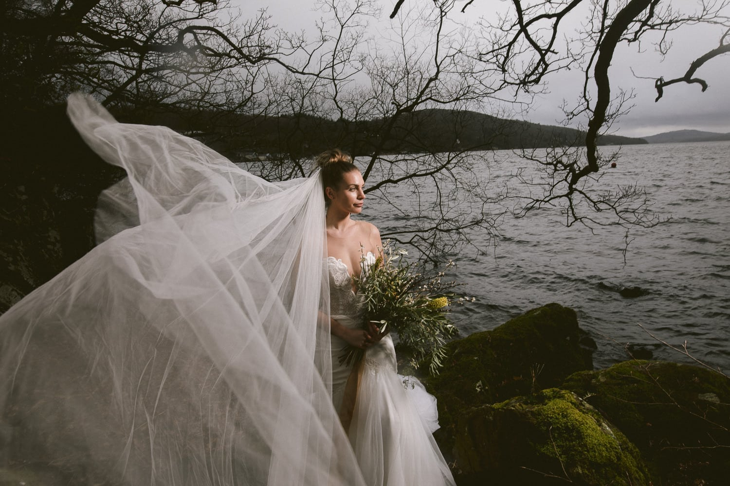 Bride on Windermere shore at Storrs Hall