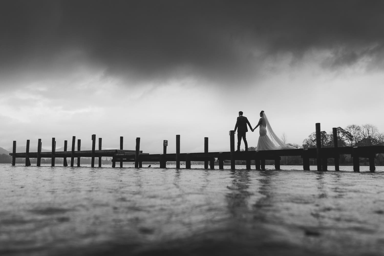 Bride and groom on Storrs Hall Jetty