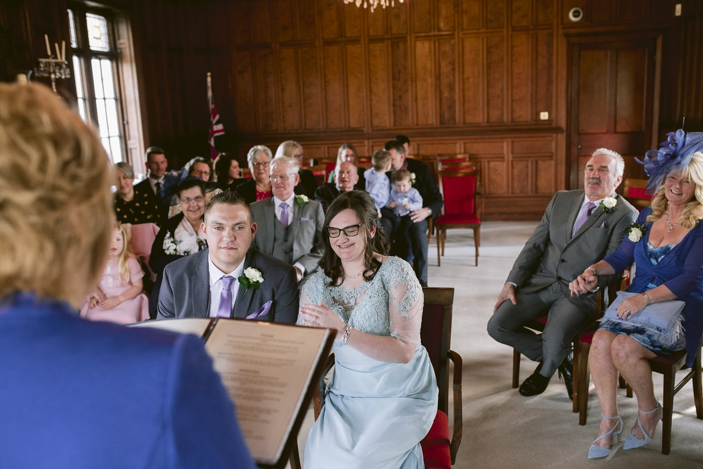bride and groom sat down in Carlisle wedding ceremony