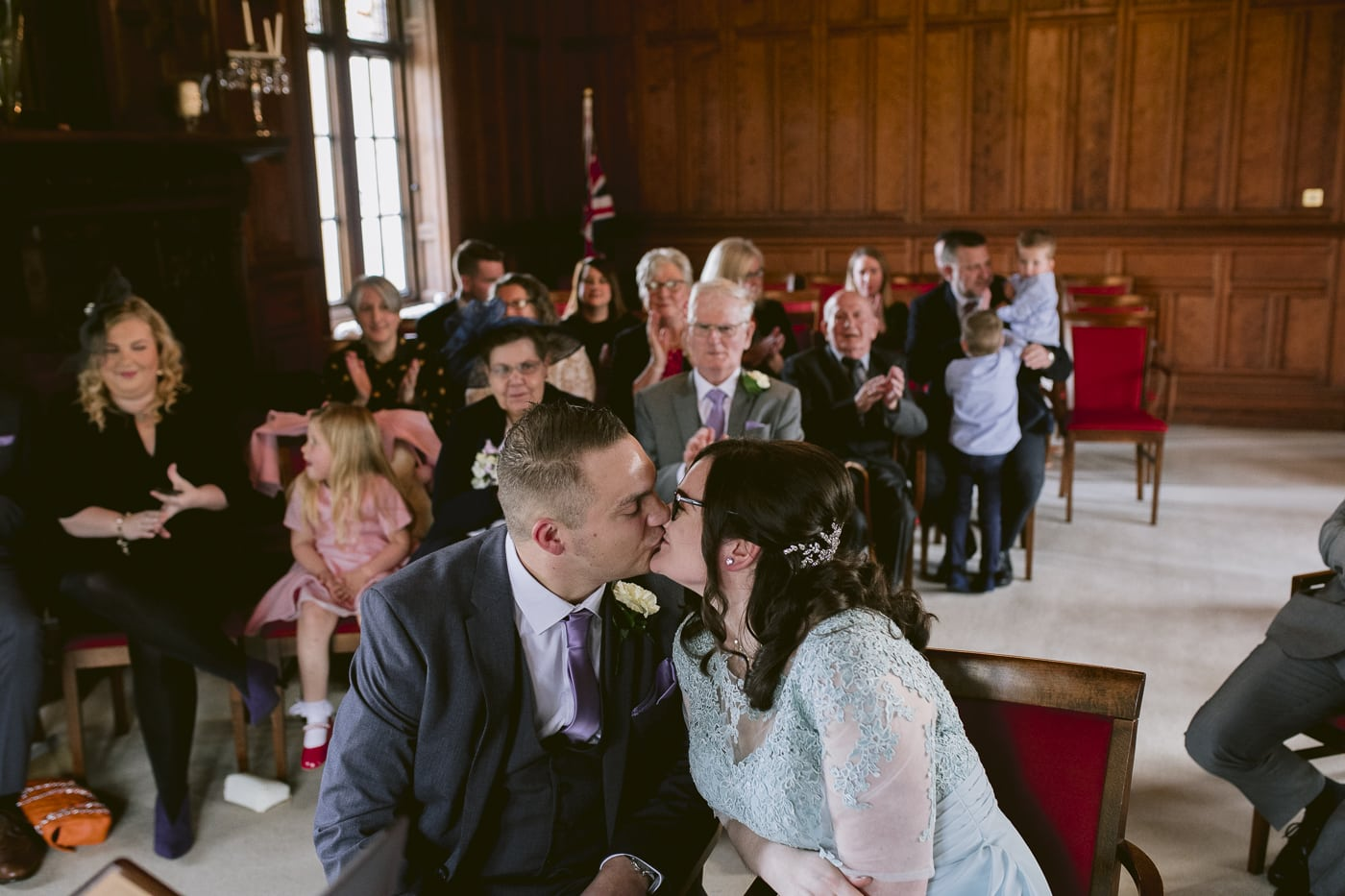 Bride and Groom Kiss at Carlisle Registry Office
