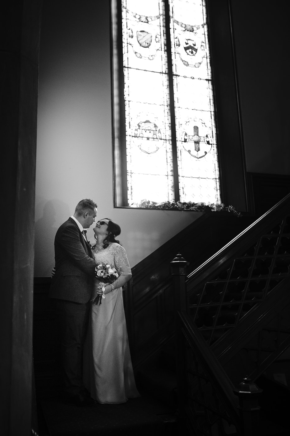 Bride and groom in couple portrait at Carlisle Registry Office