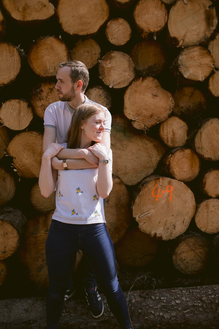 Couple By the logs Together Portrait Session