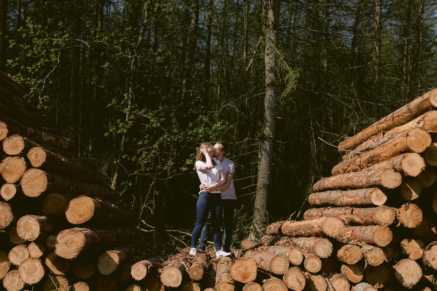On the Logs In the Forest Portrait Session