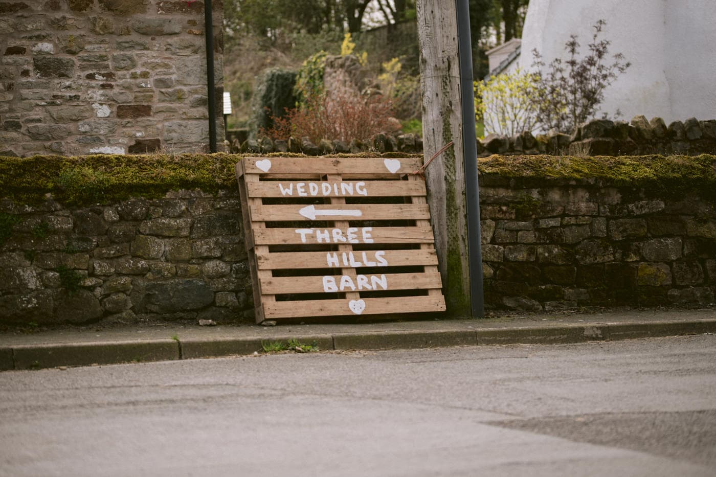 Welcoming Sign at Three Hills Barn Wedding Venue Photography