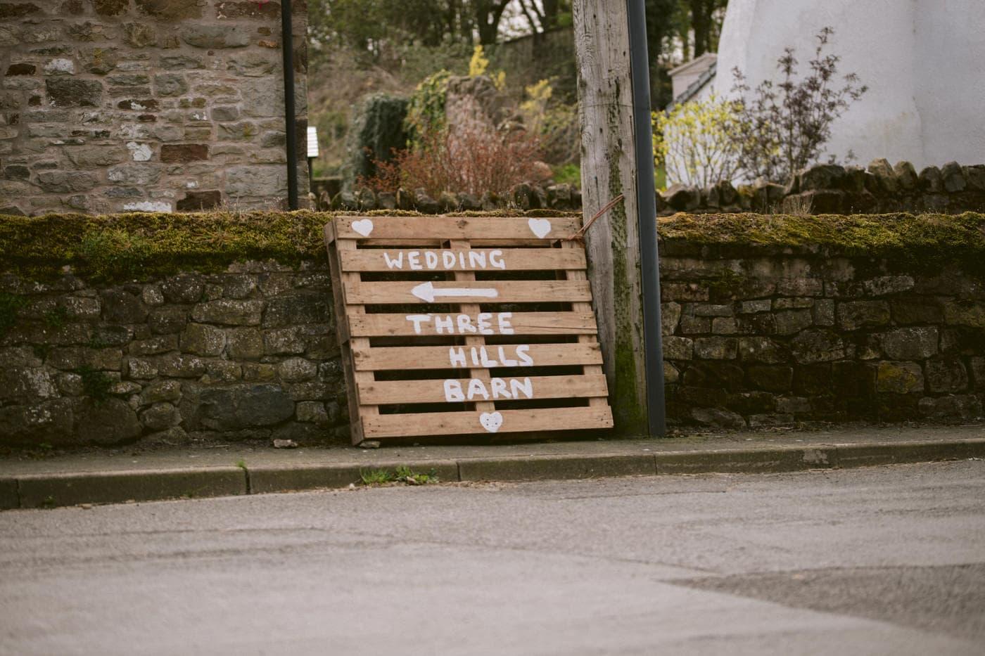 Welcoming Sign at Three Hills Barn Wedding Venue Photography