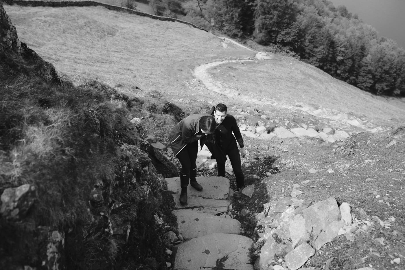 Francesca & Cyril Walking Up Hill Steps in the Lake District