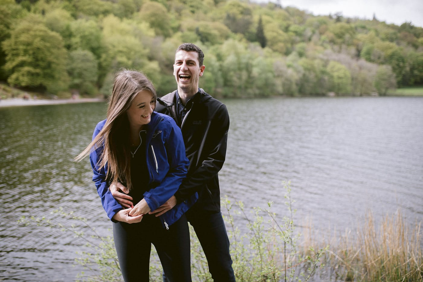 Couple by The Lake Happy Wedding Proposal Portrait
