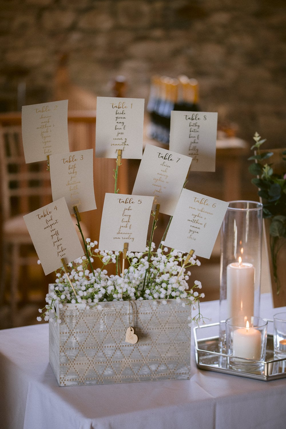 Candle and Guest Cards Pinned in Flower Pot