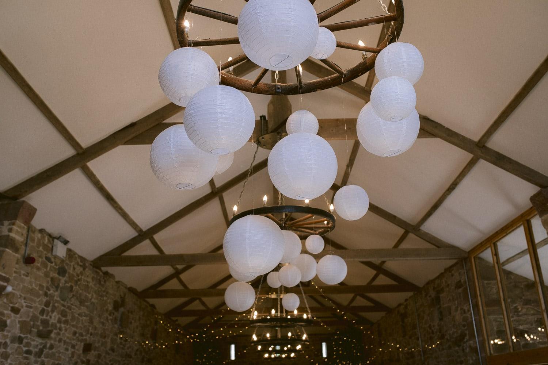 Decorative Light Shades in Wedding Hall at Three Hills Barn Wedding