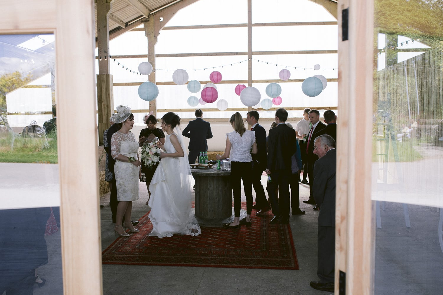Reception with Bride and Guests at Three Hills Barn Wedding