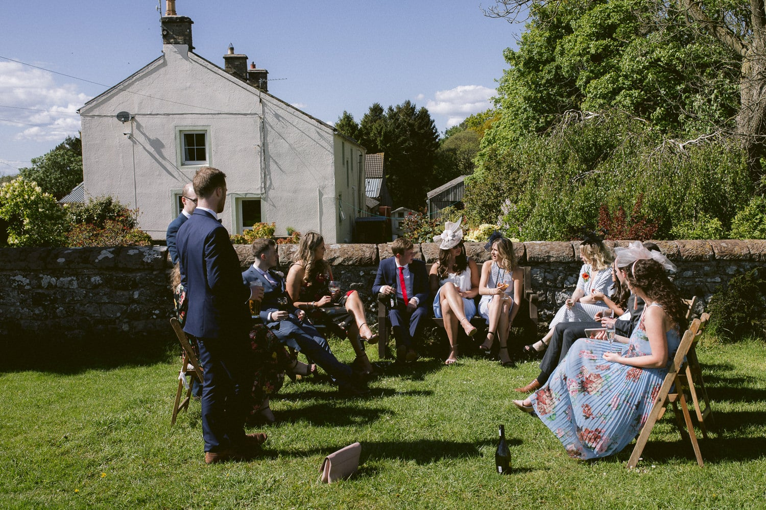Sunny Day Outside with Wedding Guests