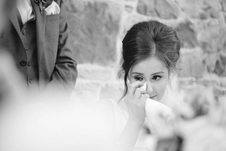 Bride Tearful of Joy at Wedding Reception Portrait