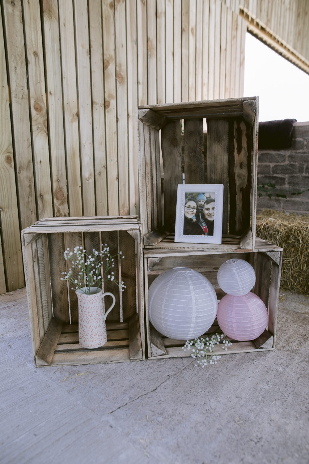 Barn Crates with Decorative Flowers and Photo Frame