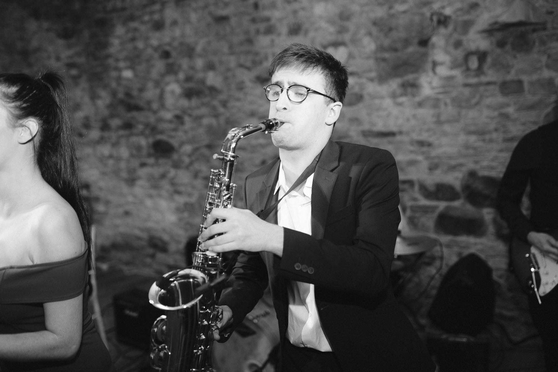 Man Wearing Glasses Playing Saxophone Portrait Shoot