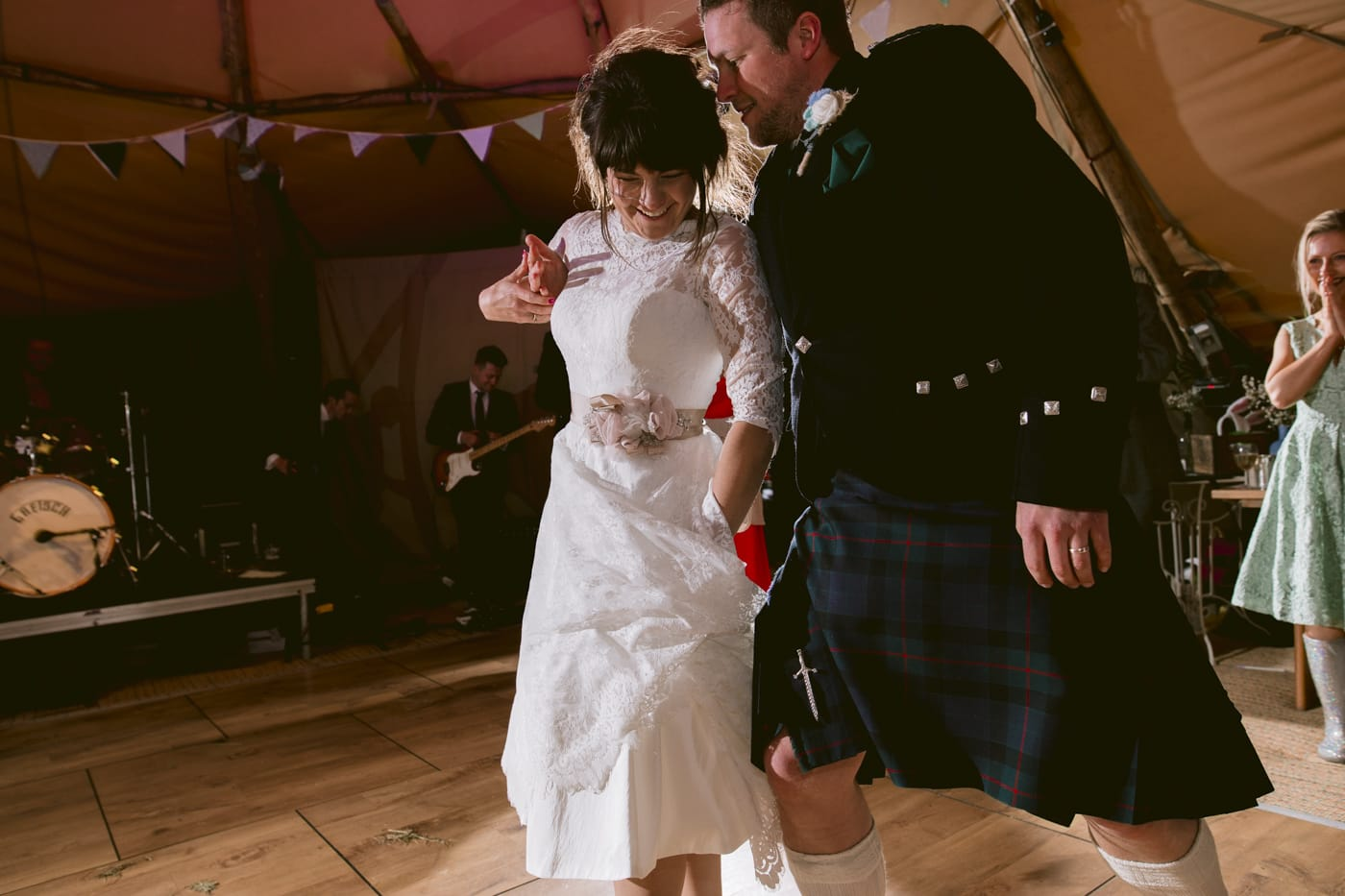 Bride and Groom Evening Dance Lake Destrict Tipi Venue